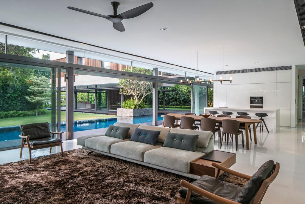 Contemporary, Landed, Secret Garden House (Bukit Timah), Architect, Wallflower Architecture + Design, Dining Table, Furniture, Table, Couch, Chair, Propeller, Flora, Jar, Plant, Potted Plant, Pottery, Vase, Indoors, Interior Design