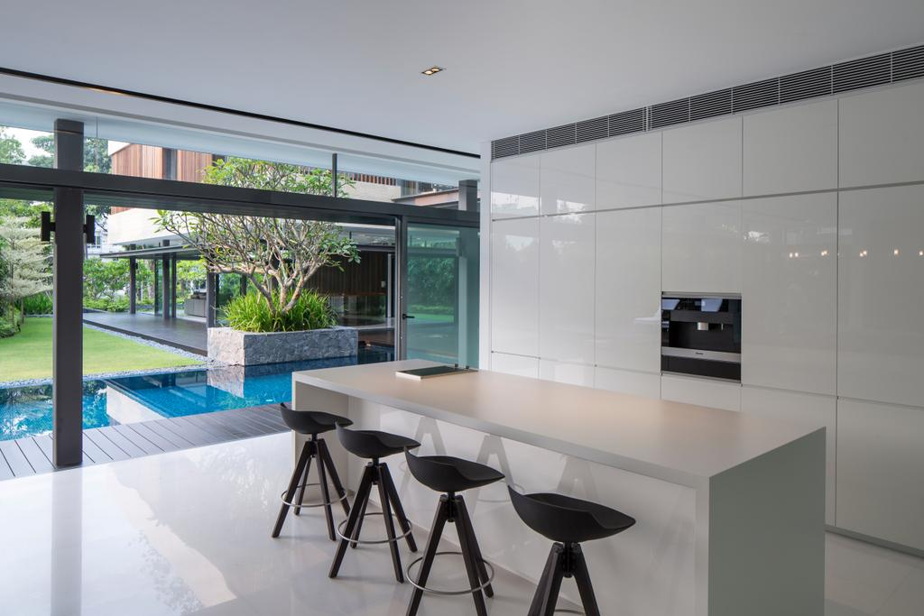 Contemporary, Landed, Kitchen, Secret Garden House (Bukit Timah), Architect, Wallflower Architecture + Design, Molding, Dining Table, Furniture, Table, Bar Stool, Tripod, Chair