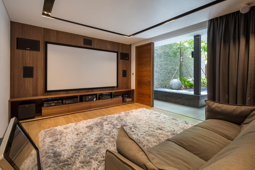 Contemporary, Landed, Secret Garden House (Bukit Timah), Architect, Wallflower Architecture + Design, Couch, Furniture, Window, Electronics, Entertainment Center, Home Theater, Indoors, Room