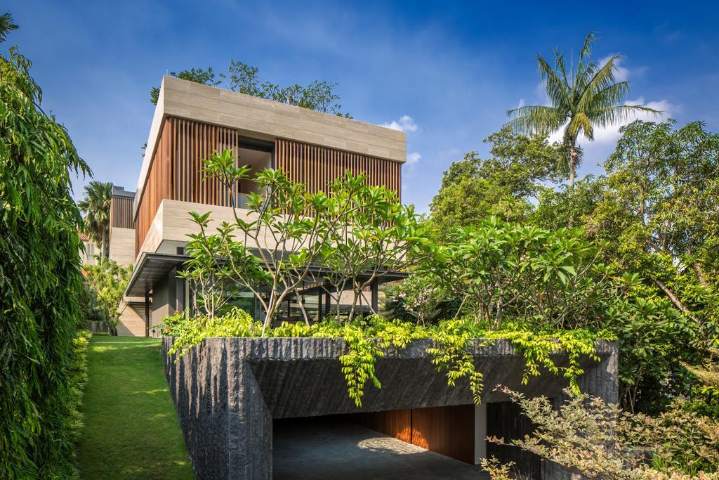 Contemporary, Landed, Secret Garden House (Bukit Timah), Architect, Wallflower Architecture + Design, Arecaceae, Flora, Palm Tree, Plant, Tree, Building, House, Housing, Villa, Backyard, Outdoors, Yard