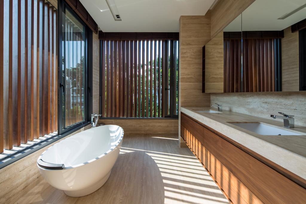 Contemporary, Landed, Bathroom, Secret Garden House (Bukit Timah), Architect, Wallflower Architecture + Design, Jacuzzi, Tub
