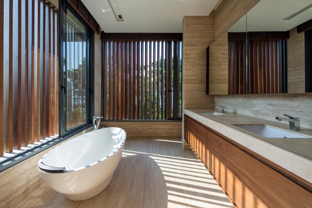 Secret Garden House (Bukit Timah), Wallflower Architecture + Design, Contemporary, Bathroom, Landed, Jacuzzi, Tub
