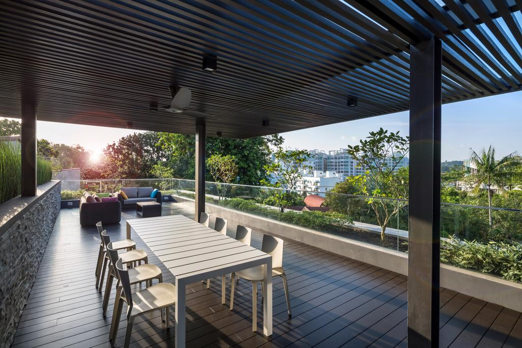 Contemporary, Landed, Garden, Secret Garden House (Bukit Timah), Architect, Wallflower Architecture + Design, Outdoor Dining, Outdoor Furniture, Roof, Rooftop, Trellis, Dining Table, Furniture, Table, Chair, Boardwalk, Bridge, Building