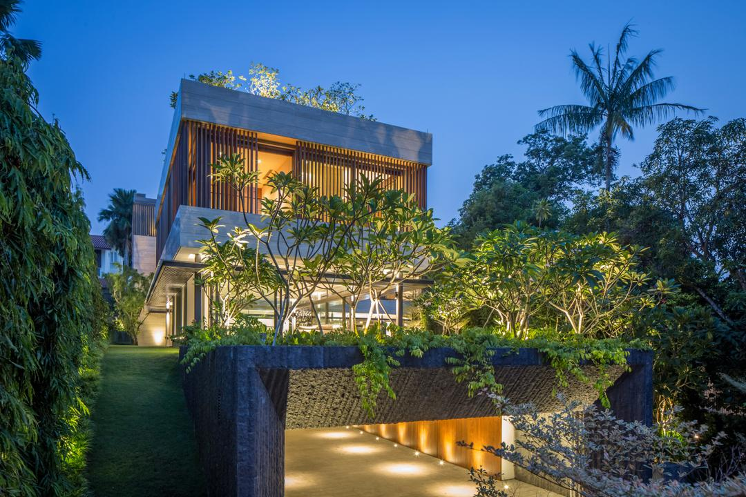 Secret Garden House (Bukit Timah), Wallflower Architecture + Design, Contemporary, Landed, Building, Cottage, House, Housing, Villa, Arecaceae, Flora, Palm Tree, Plant, Tree, Gazebo