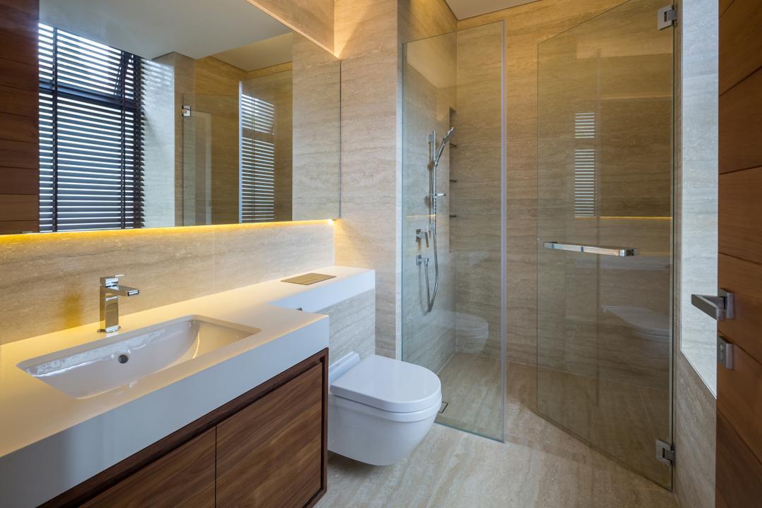 Secret Garden House (Bukit Timah), Wallflower Architecture + Design, Contemporary, Bathroom, Landed, Indoors, Interior Design, Room, Jacuzzi, Tub, Bathtub
