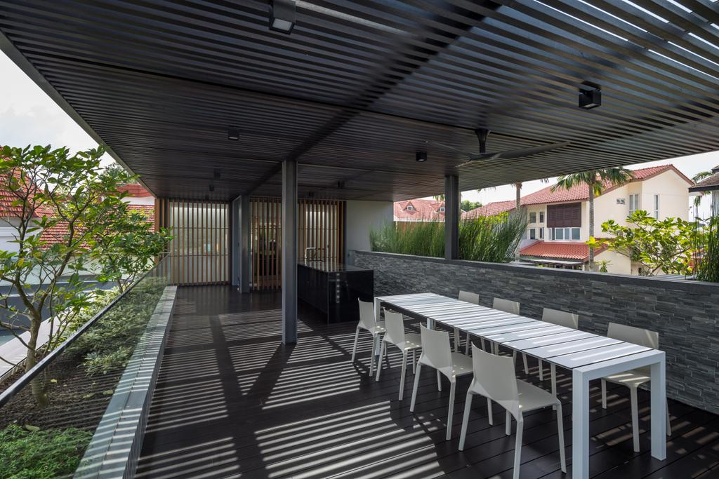 Contemporary, Landed, Secret Garden House (Bukit Timah), Architect, Wallflower Architecture + Design, Dining Table, Furniture, Table, Flora, Jar, Plant, Potted Plant, Pottery, Vase, Porch, Chair