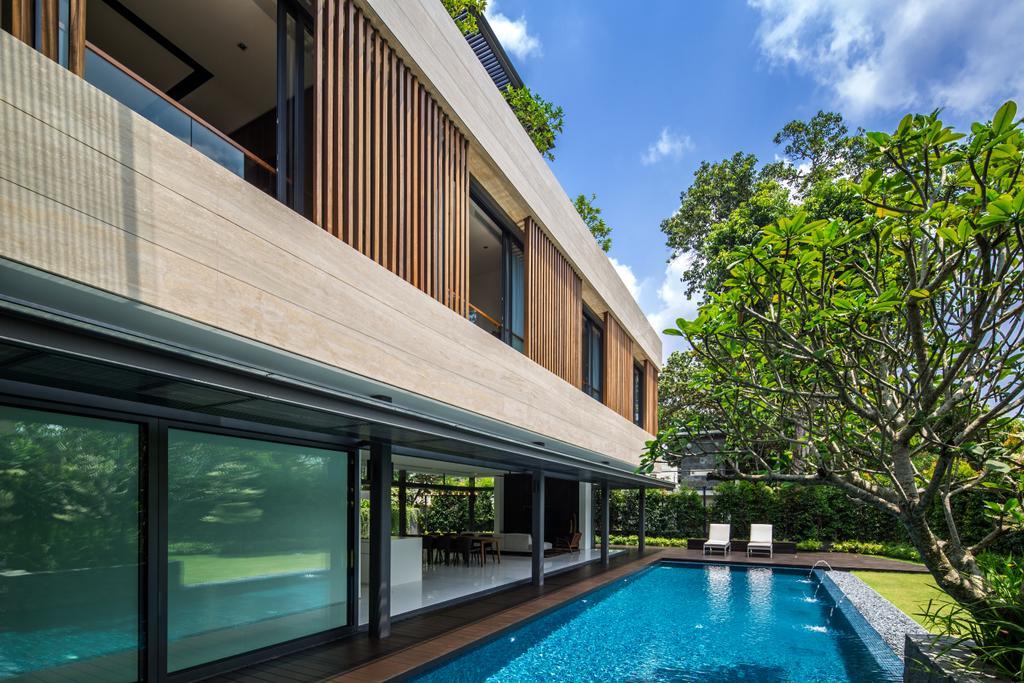 Contemporary, Landed, Secret Garden House (Bukit Timah), Architect, Wallflower Architecture + Design, Pool, Water, Building, House, Housing, Villa, Hotel, Resort, Swimming Pool