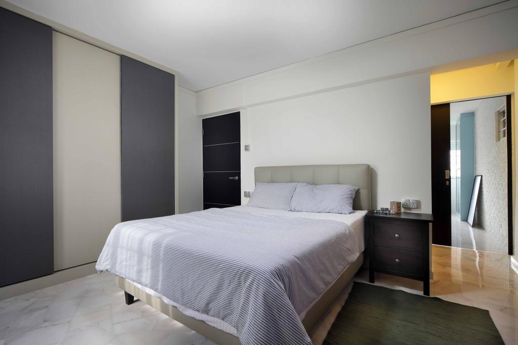 Transitional, HDB, Bedroom, Tampines Street 21 (Block 254), Interior Designer, Space Concepts Design, Indoors, Interior Design, Room, Flooring, Bed, Furniture, Door, Sliding Door