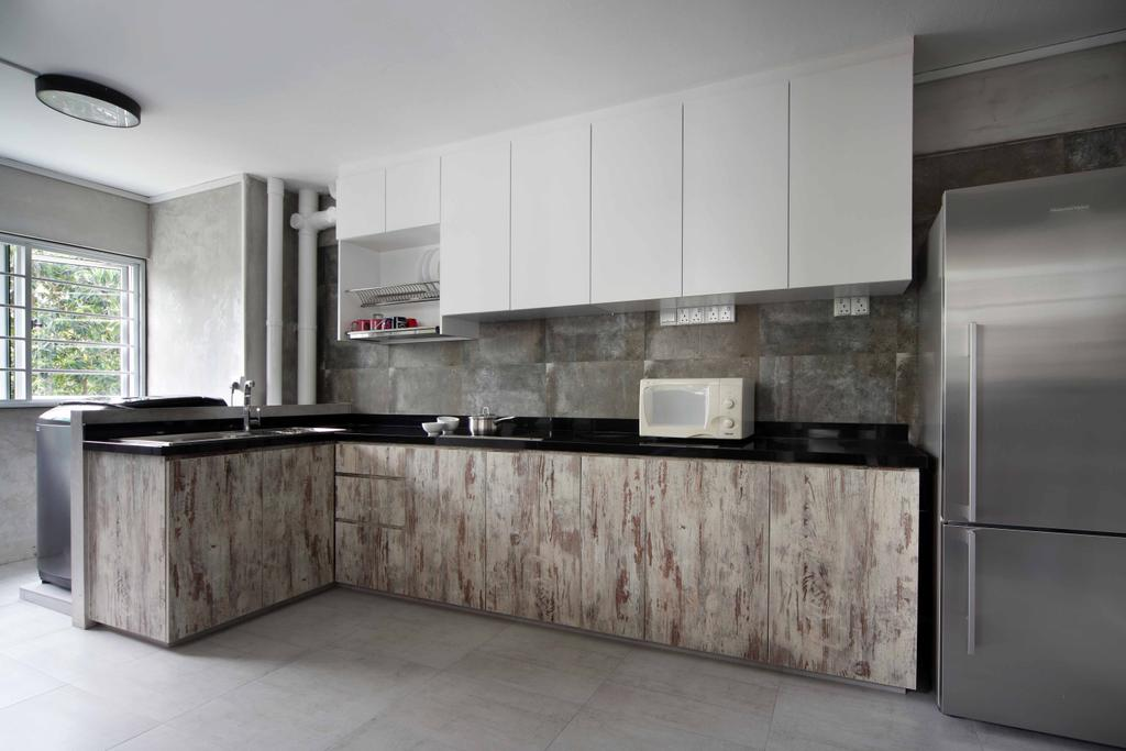 Transitional, HDB, Kitchen, Tampines Street 21 (Block 254), Interior Designer, Space Concepts Design, Window, Appliance, Electrical Device, Fridge, Refrigerator