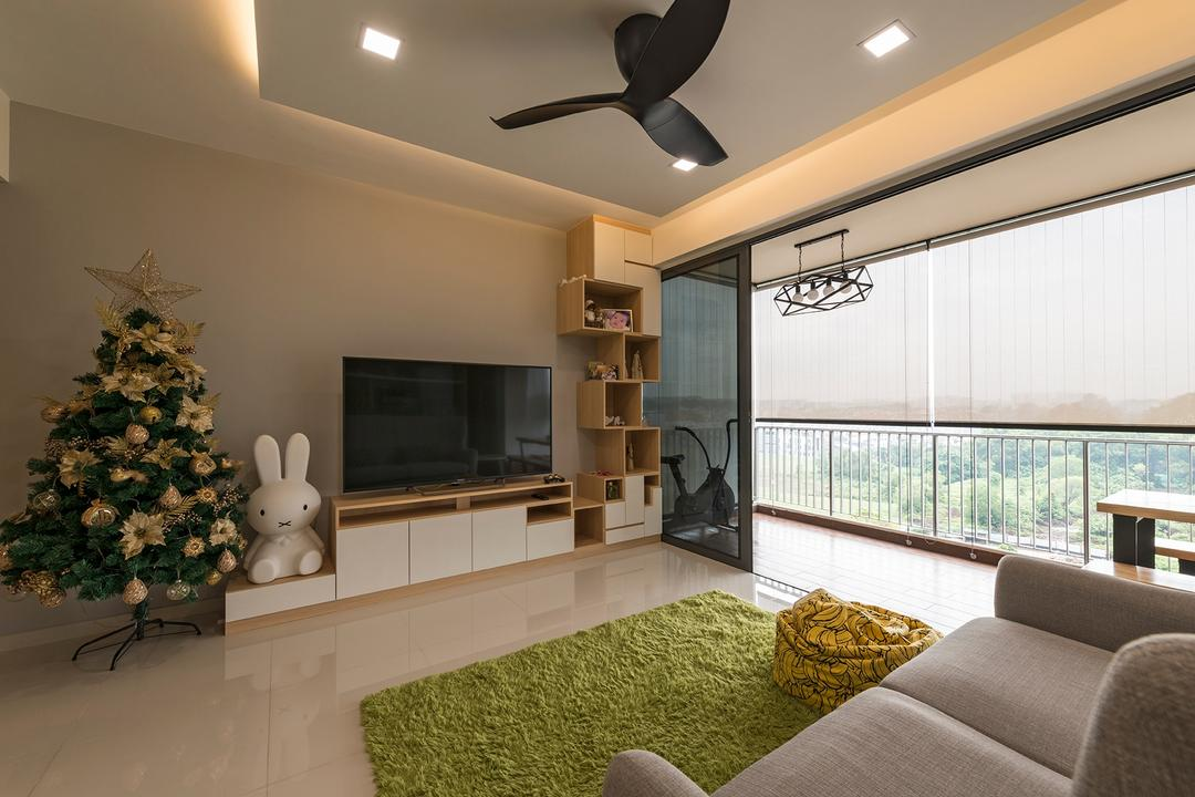 Sky Park Residences, Summit Design Studio, Minimalistic, Living Room, Condo, Couch, Furniture, Flora, Plant, Weed, Jar, Potted Plant, Pottery, Vase, Indoors, Interior Design