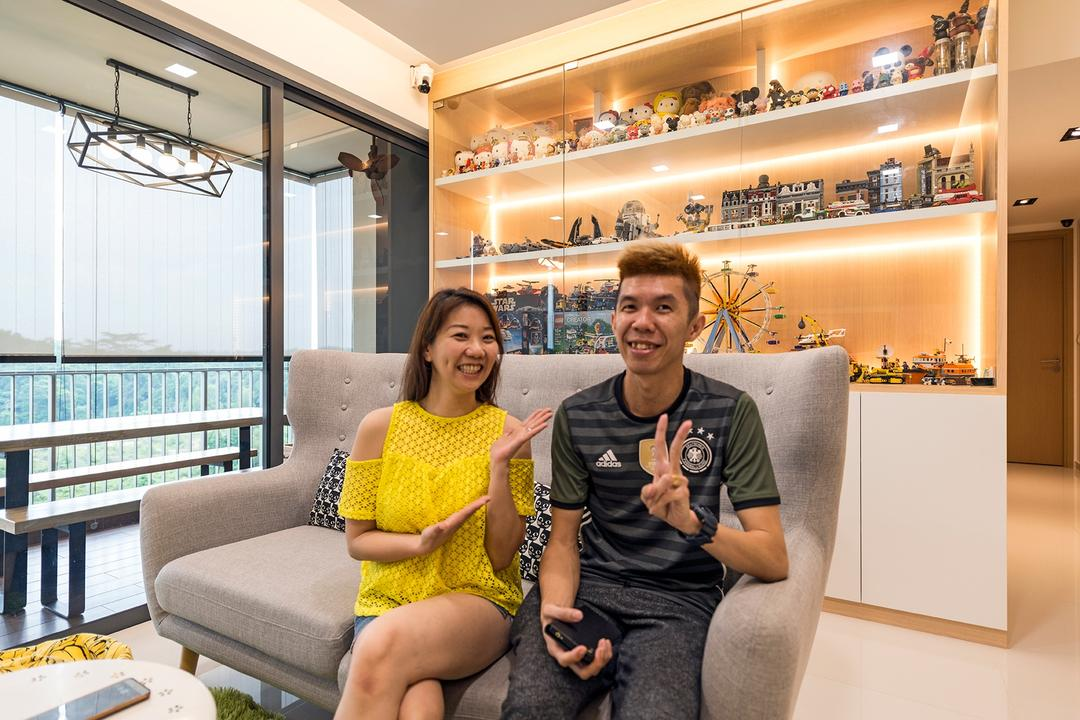 Sky Park Residences, Summit Design Studio, Minimalistic, Living Room, Condo, Human, People, Person, Couch, Furniture, Knitting, Chair