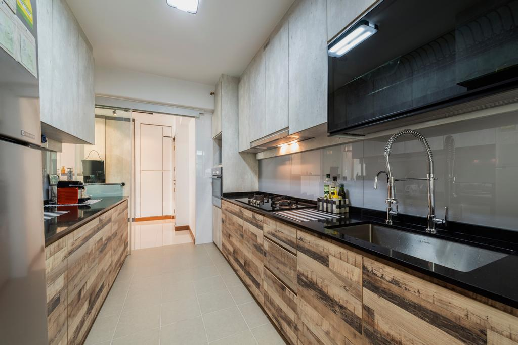 Modern, HDB, Kitchen, Punggol Drive (Block 665A), Interior Designer, Fifth Avenue Interior, Industrial, Indoors, Interior Design, Room, Flooring