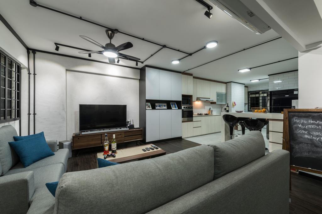 Industrial, HDB, Living Room, Bishan Street 22, Interior Designer, Fifth Avenue Interior, Blackboard, Couch, Furniture