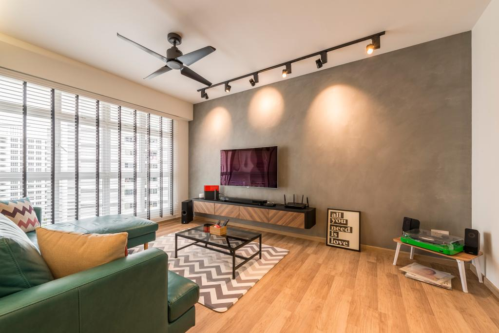 Scandinavian, HDB, Living Room, Compassvale Crescent (Block 286B), Interior Designer, Meter Square, Industrial, Couch, Furniture, Building, Housing, Indoors, Loft, Room