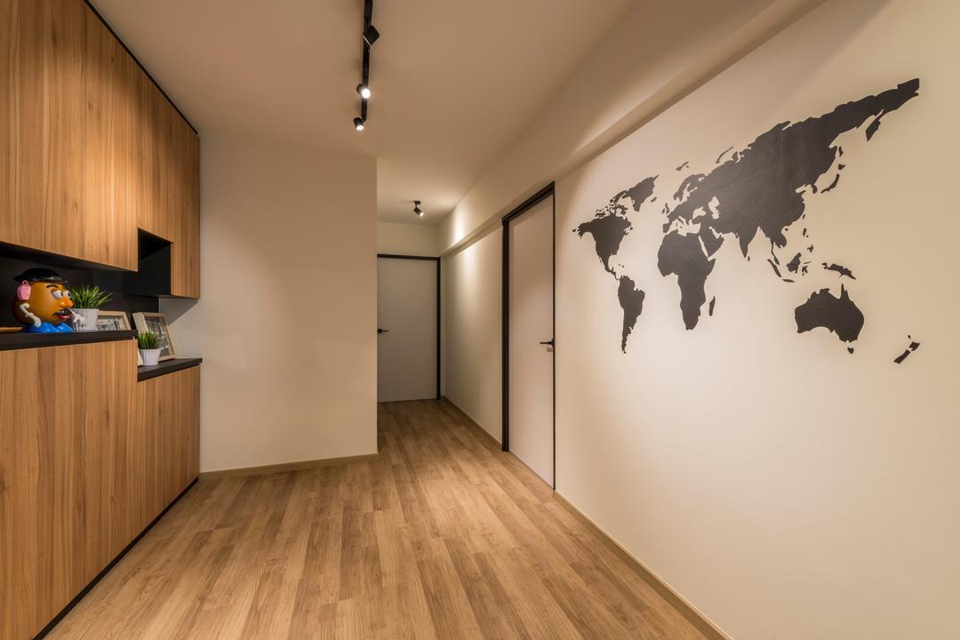 Compassvale Crescent (Block 286B), Meter Square, Scandinavian, Industrial, Living Room, HDB, Indoors, Interior Design, Stencil