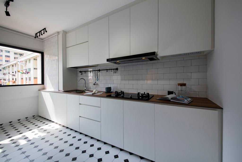 Scandinavian, HDB, Kitchen, Serangoon Avenue 3, Interior Designer, Aart Boxx Interior, Industrial, Hidden Wiring, Pinterest, Subway Tiles, Spotlight, Tiling, Indoors, Interior Design, Room