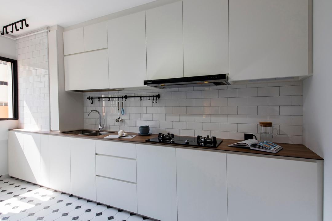 Serangoon Avenue 3, Aart Boxx Interior, Scandinavian, Industrial, Kitchen, HDB, Hidden Wiring, Pinterest, Subway Tiles, Spotlight, Tiling, Indoors, Interior Design, Room
