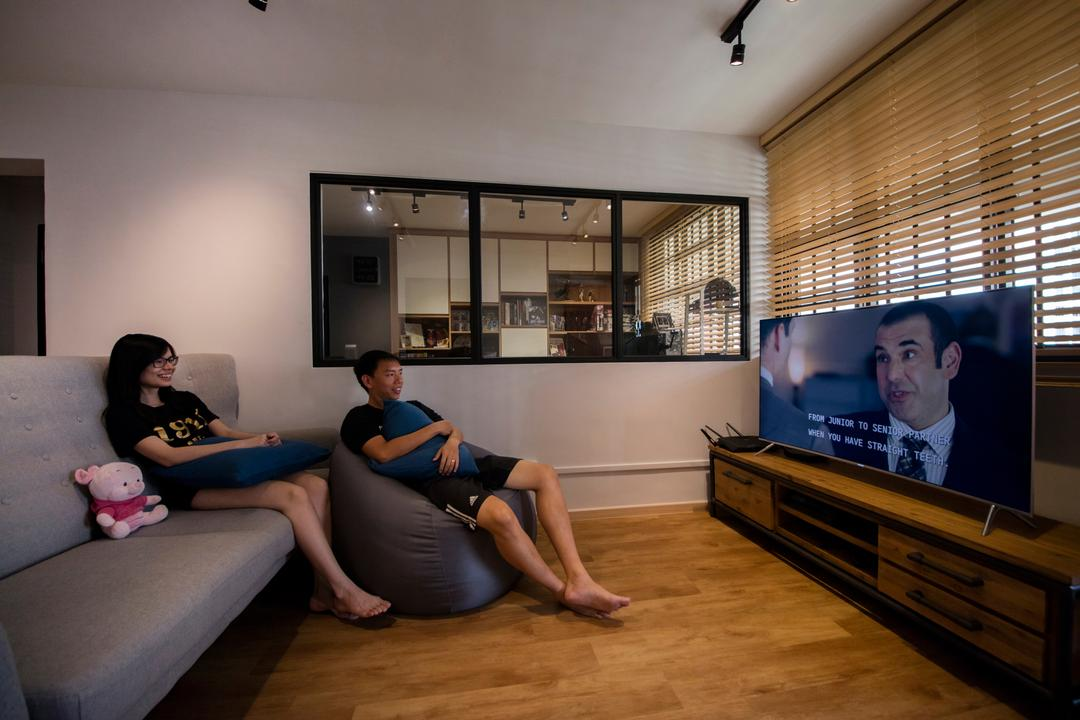 Serangoon Avenue 3, Aart Boxx Interior, Scandinavian, Industrial, Living Room, HDB, Half Wall, Blinds, Human, People, Person, Electronics, Monitor, Screen, Tv, Television, Couch, Furniture, Bench