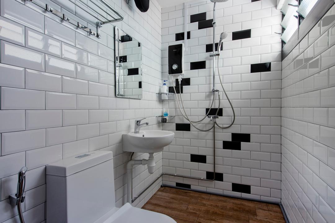 Serangoon Avenue 3, Aart Boxx Interior, Scandinavian, Industrial, HDB, Subway Tiles, Wood Tiles, Toilet, Shower, Louvre Windows, Bathroom, Indoors, Interior Design, Room