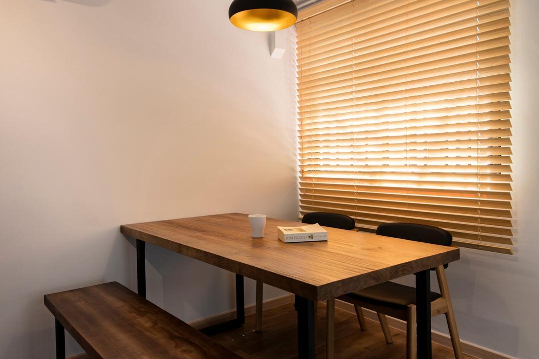 Serangoon Avenue 3, Aart Boxx Interior, Scandinavian, Industrial, Dining Room, HDB, Bench, Blinds, Pendant Lamp, Chair, Furniture, Indoors, Interior Design, Room, Dining Table, Table