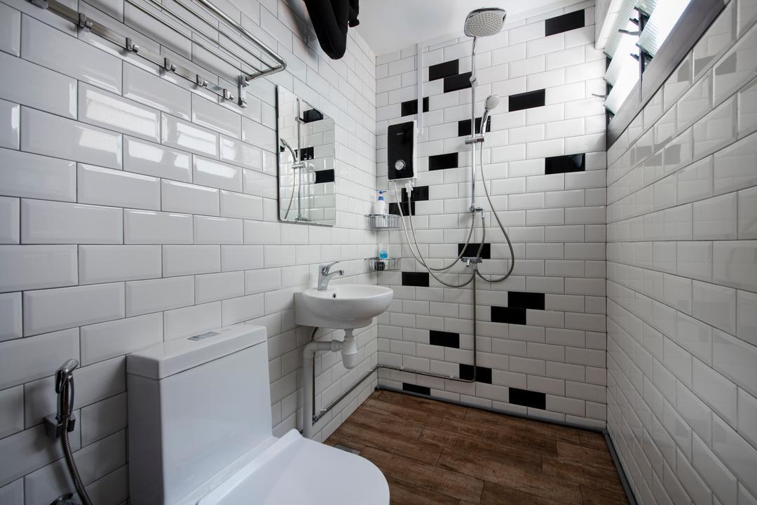 Serangoon Avenue 3, Aart Boxx Interior, Scandinavian, Industrial, Bathroom, HDB, Subway Tiles, Shower, Wood Tiles, Toilet, Louvre Windows, Indoors, Interior Design, Room