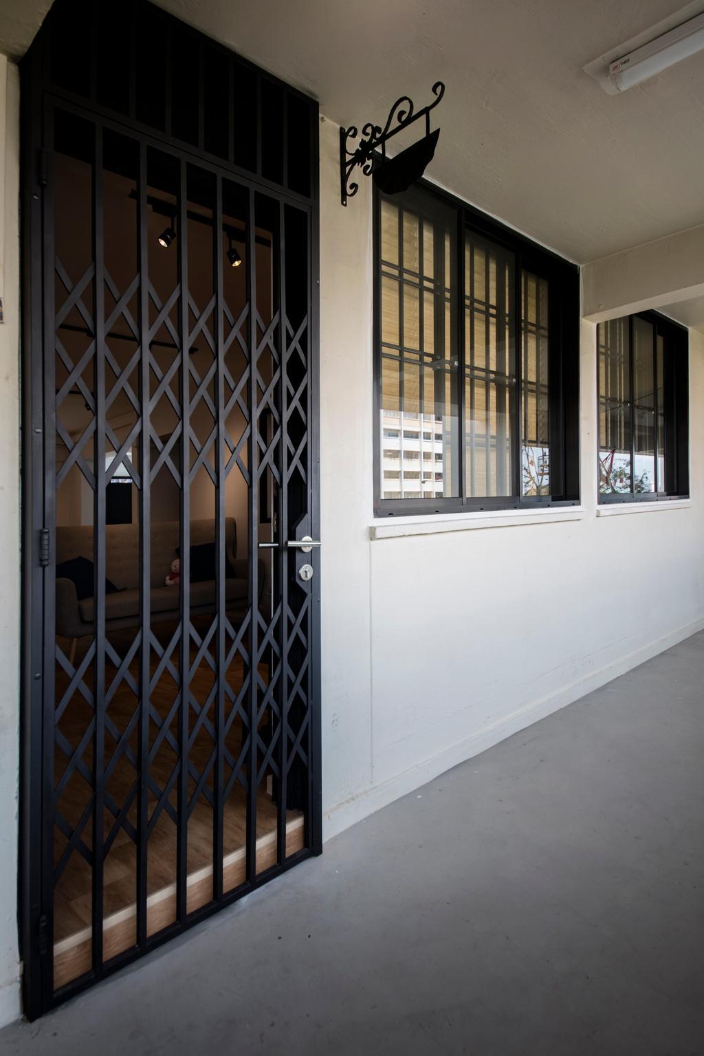 Scandinavian, HDB, Serangoon Avenue 3, Interior Designer, Aart Boxx Interior, Industrial, Gate, Corridor, Entrance, Walkway, Gated, Door Grille
