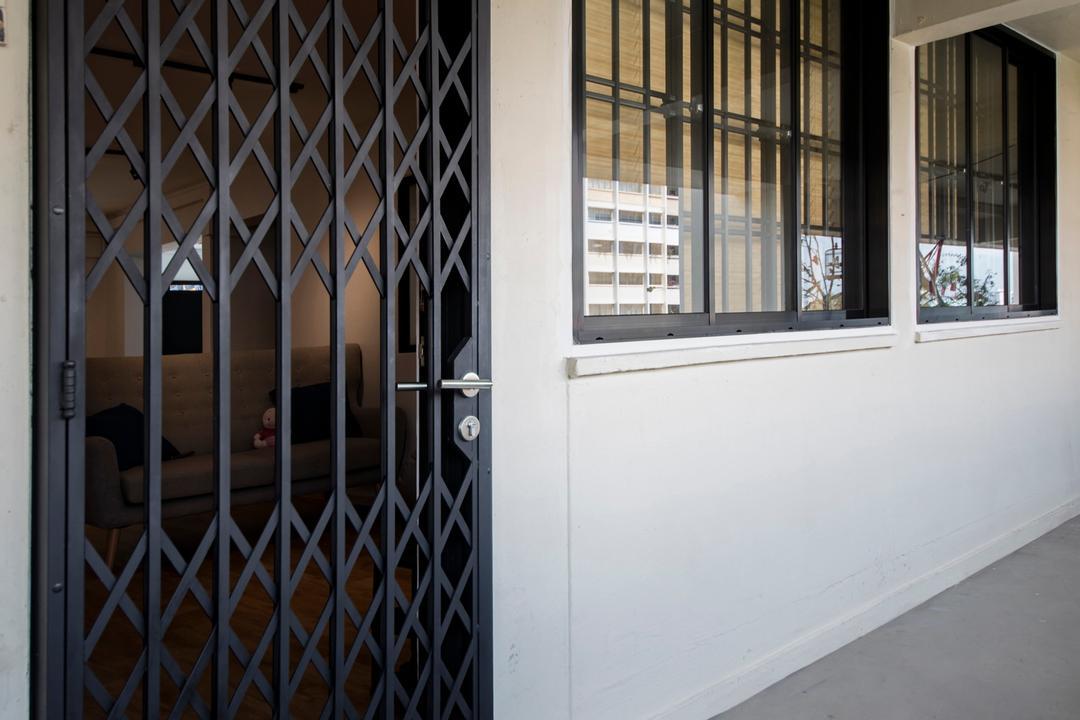 Serangoon Avenue 3, Aart Boxx Interior, Scandinavian, Industrial, HDB, Gate, Corridor, Entrance, Walkway, Gated, Door Grille