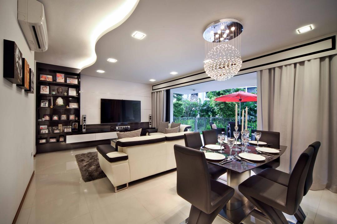 Woodleigh, Space Concepts Design, Traditional, Dining Room, Condo, Light Fixture, Chair, Furniture, Indoors, Interior Design, Room, Dining Table, Table, Terrace, Electronics, Entertainment Center, Home Theater