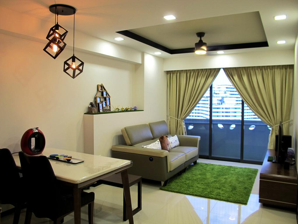 Scandinavian, HDB, Dining Room, Punggol Waterway Terraces, Interior Designer, Colourbox Interior, Pendant Light, Dining Table, Simple, Small Layout, Compact, Couch, Furniture, Indoors, Room, Light Fixture, Chair, Interior Design