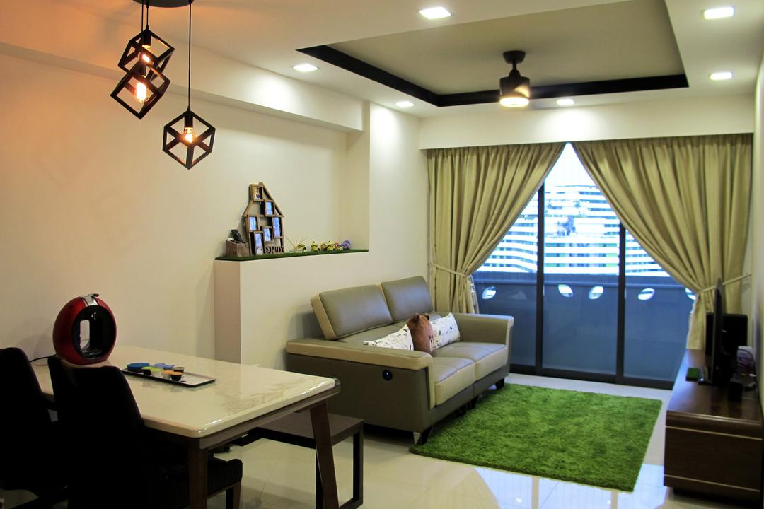 Punggol Waterway Terraces, Colourbox Interior, Scandinavian, Dining Room, HDB, Pendant Light, Dining Table, Simple, Small Layout, Compact, Couch, Furniture, Indoors, Room, Light Fixture, Chair, Interior Design