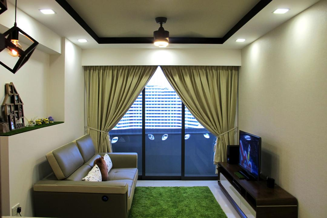 Punggol Waterway Terraces, Colourbox Interior, Scandinavian, Living Room, HDB, Curtain, Tv Console, Recessed Ceiling, Recessed Lighting, Leather Sofa, Carpet Grass, Simple, Couch, Furniture, Indoors, Room, Chair, Interior Design