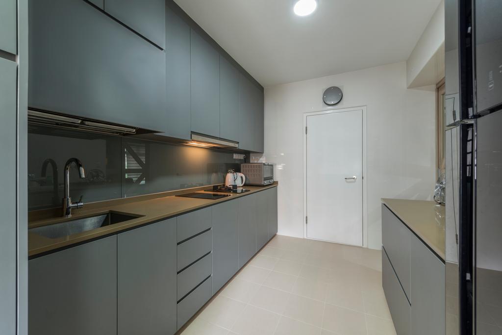 Modern, HDB, Kitchen, Upper Serangoon Road, Interior Designer, Charlotte's Carpentry, Scandinavian, Sink, Appliance, Electrical Device, Fridge, Refrigerator, Indoors, Interior Design, Room
