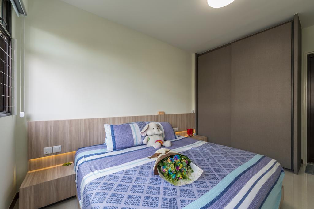 Modern, HDB, Bedroom, Upper Serangoon Road, Interior Designer, Charlotte's Carpentry, Scandinavian, Bed, Furniture, Indoors, Interior Design, Room