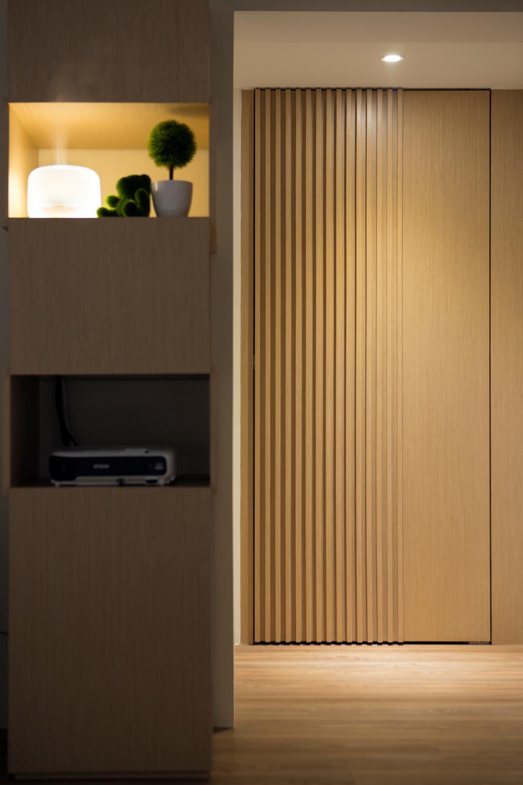 Minimalistic, HDB, Living Room, Marine Terrace, Interior Designer, Prozfile Design, Scandinavian, Door, Folding Door