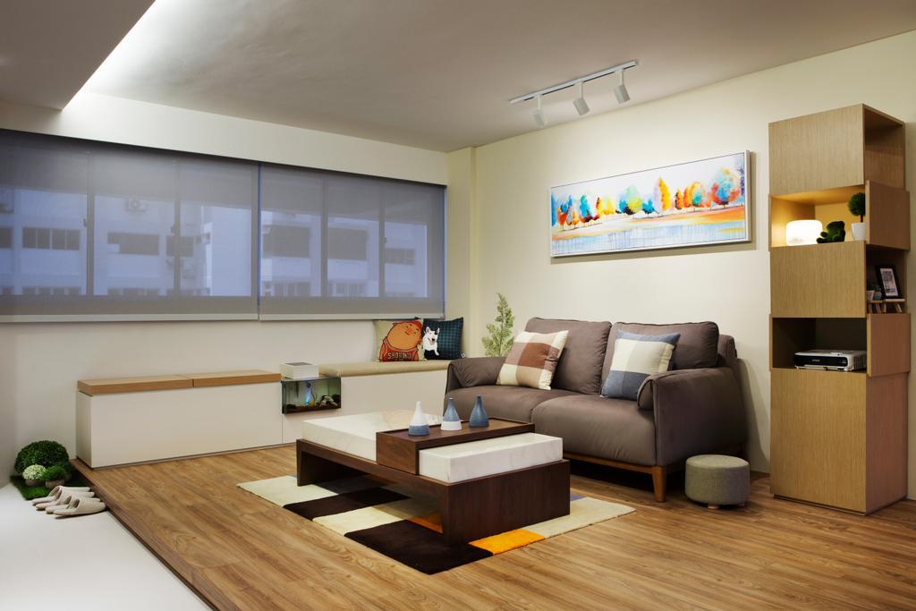 Minimalistic, HDB, Living Room, Marine Terrace, Interior Designer, Prozfile Design, Scandinavian, Coffee Table, Furniture, Table, Indoors, Interior Design