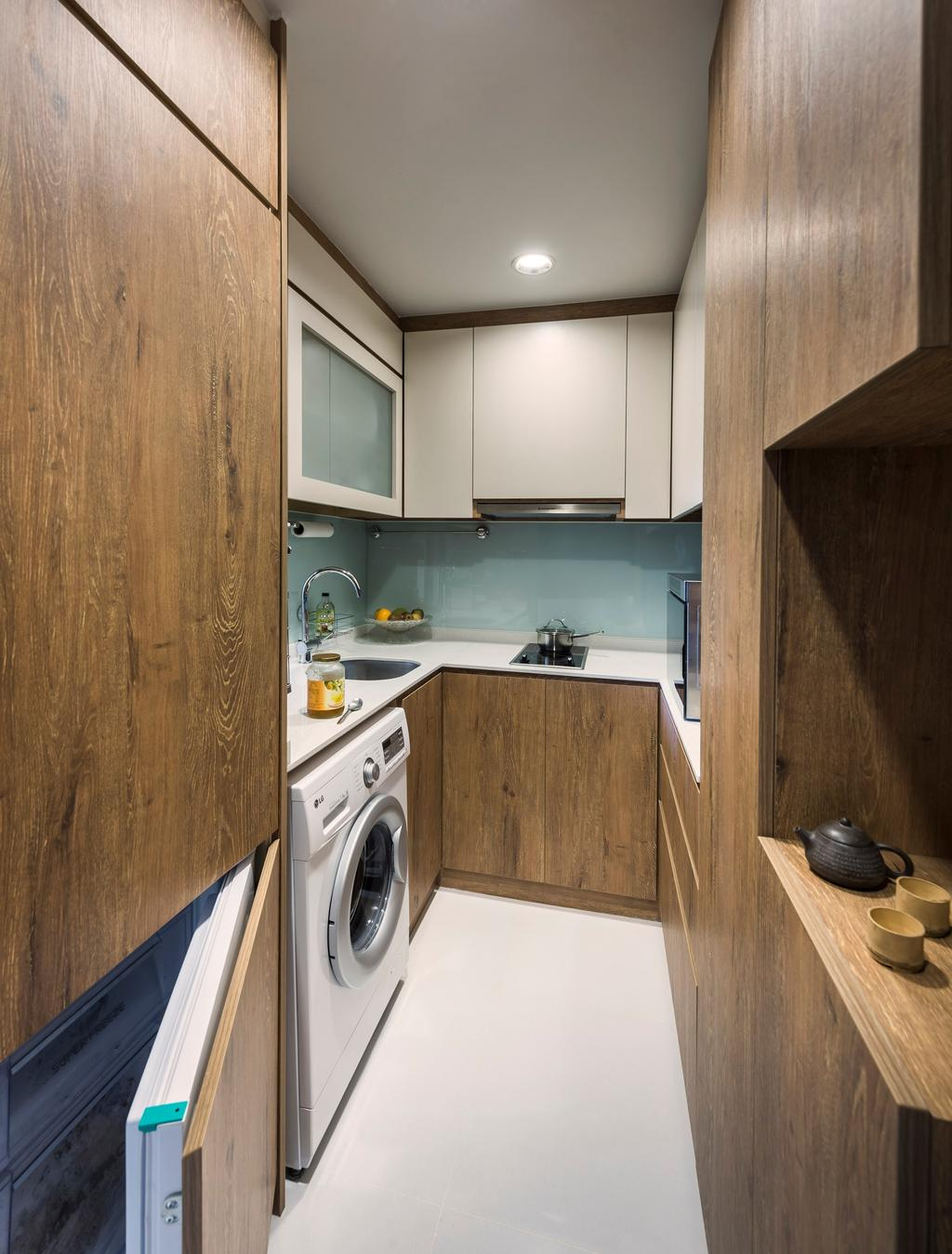 Modern, HDB, Kitchen, Space @ Kovan, Interior Designer, D5 Studio Image, Indoors, Interior Design, Room, Pot, Pottery, Teapot