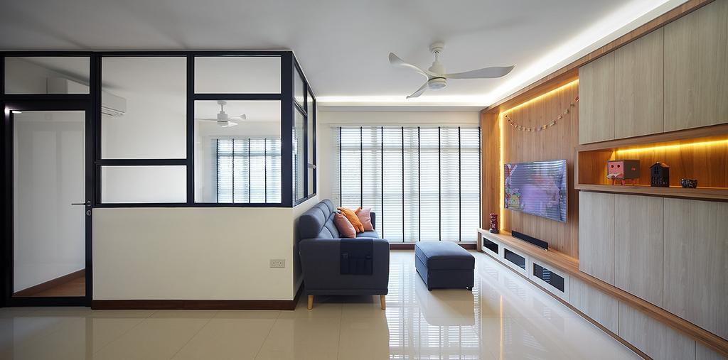 Modern, HDB, Compassvale Drive (Block 216A), Interior Designer, D5 Studio Image, Scandinavian, Couch, Furniture, Indoors, Interior Design, Building, Housing, Loft