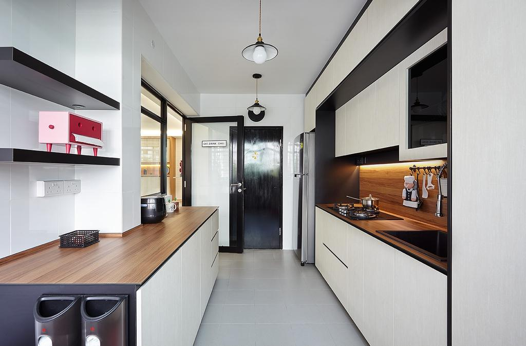 Modern, HDB, Compassvale Drive (Block 216A), Interior Designer, D5 Studio Image, Scandinavian, Indoors, Interior Design, Kitchen, Room, Building, Housing, Loft