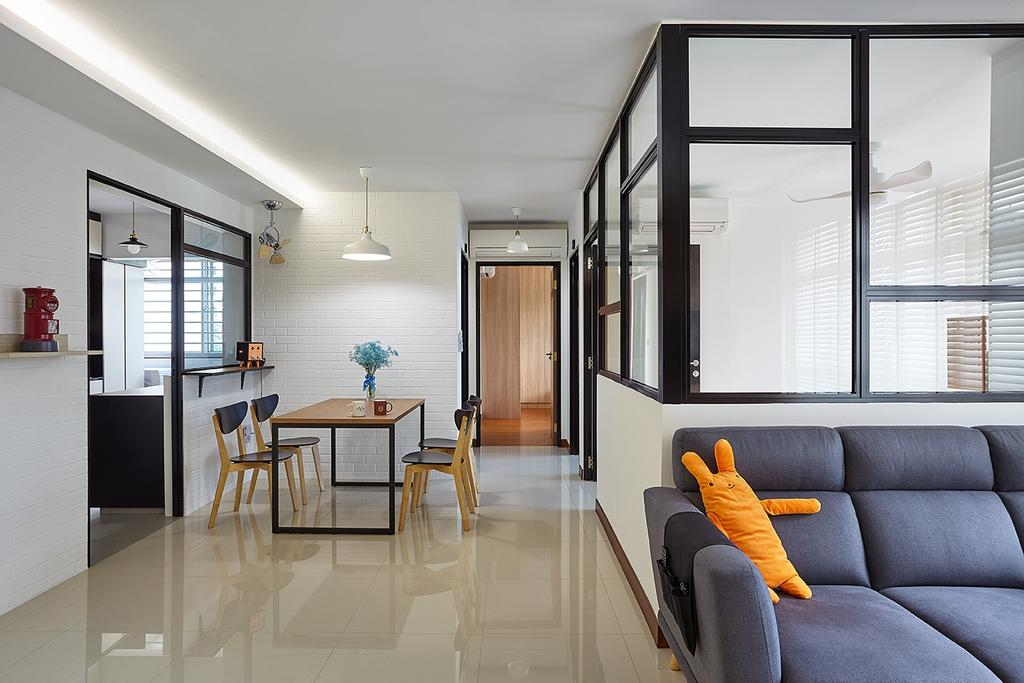 Modern, HDB, Living Room, Compassvale Drive (Block 216A), Interior Designer, D5 Studio Image, Scandinavian, Couch, Furniture, Dining Table, Table, Building, Housing, Indoors, Flooring