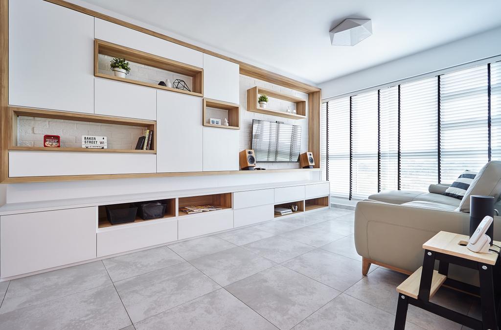 Modern, HDB, Living Room, Edgefield Plains (Block 670B), Interior Designer, D5 Studio Image, Minimalistic, Flooring, Indoors, Interior Design