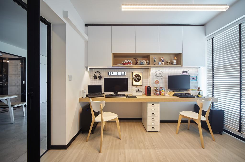 Modern, HDB, Study, Edgefield Plains (Block 670B), Interior Designer, D5 Studio Image, Minimalistic, Desk, Furniture, Table, Dining Table, Indoors, Interior Design, Kitchen, Room, Dining Room, Building, Housing, Loft