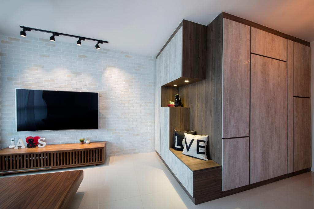 Modern, HDB, Living Room, Tenteram Peak (Block 116A), Interior Designer, Aart Boxx Interior, Scandinavian, Fireplace, Hearth, Indoors, Interior Design