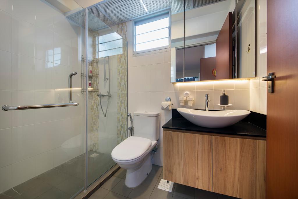 Modern, HDB, Oleander Breeze, Interior Designer, Aart Boxx Interior, Toilet, Bathroom, Indoors, Interior Design, Room
