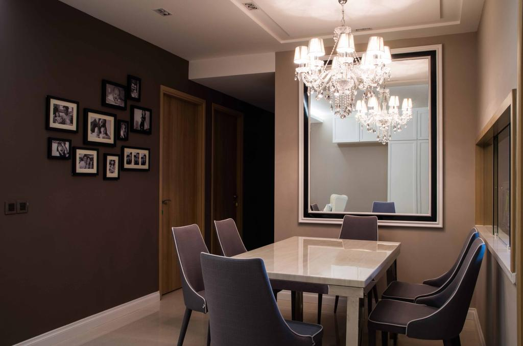 Contemporary, Condo, Living Room, Caspian Condo, Interior Designer, Space Concepts Design, Chair, Furniture, Dining Table, Table, Dining Room, Indoors, Interior Design, Room, Chandelier, Lamp, Couch, Banister, Handrail