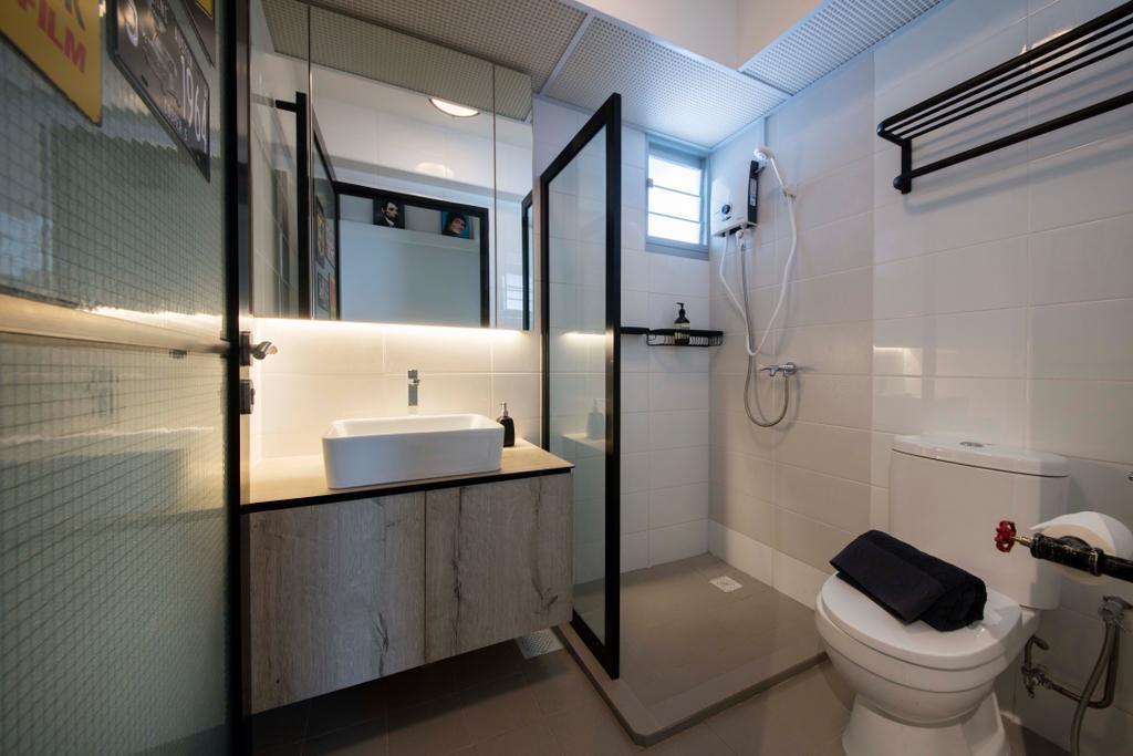 Modern, HDB, Bathroom, Tenteram Peak (Block 116B), Interior Designer, Aart Boxx Interior, Scandinavian, Toilet, Indoors, Interior Design, Room, Building, Housing