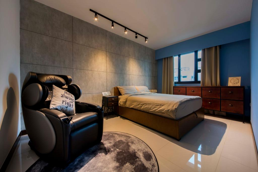 Scandinavian, HDB, Bedroom, Edgedale Plains (Block 122A), Interior Designer, Aart Boxx Interior, Industrial, Bed, Furniture, Couch, Chair