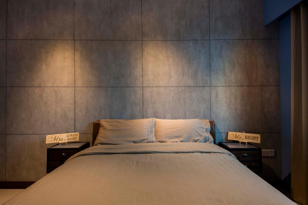 Scandinavian, HDB, Bedroom, Edgedale Plains (Block 122A), Interior Designer, Aart Boxx Interior, Industrial, Bed, Furniture, Door, Sliding Door