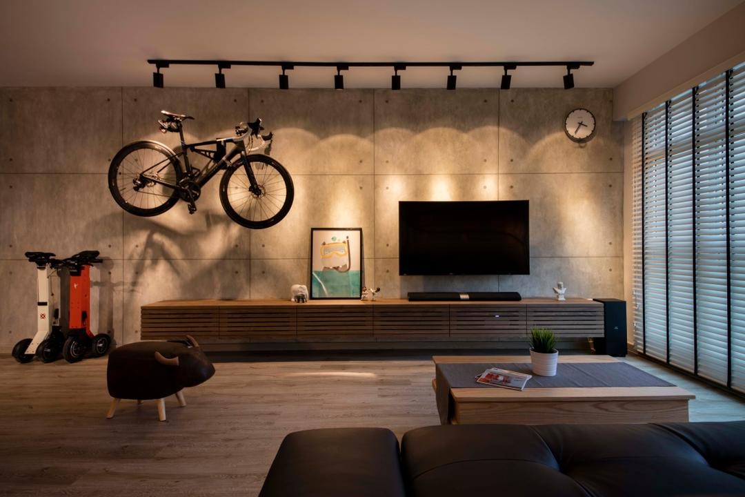 Waterway Sundew, Aart Boxx Interior, Industrial, Scandinavian, Living Room, HDB, Flora, Jar, Plant, Potted Plant, Pottery, Vase, Couch, Furniture, Indoors, Interior Design, Bicycle, Bike, Mountain Bike, Transportation, Vehicle