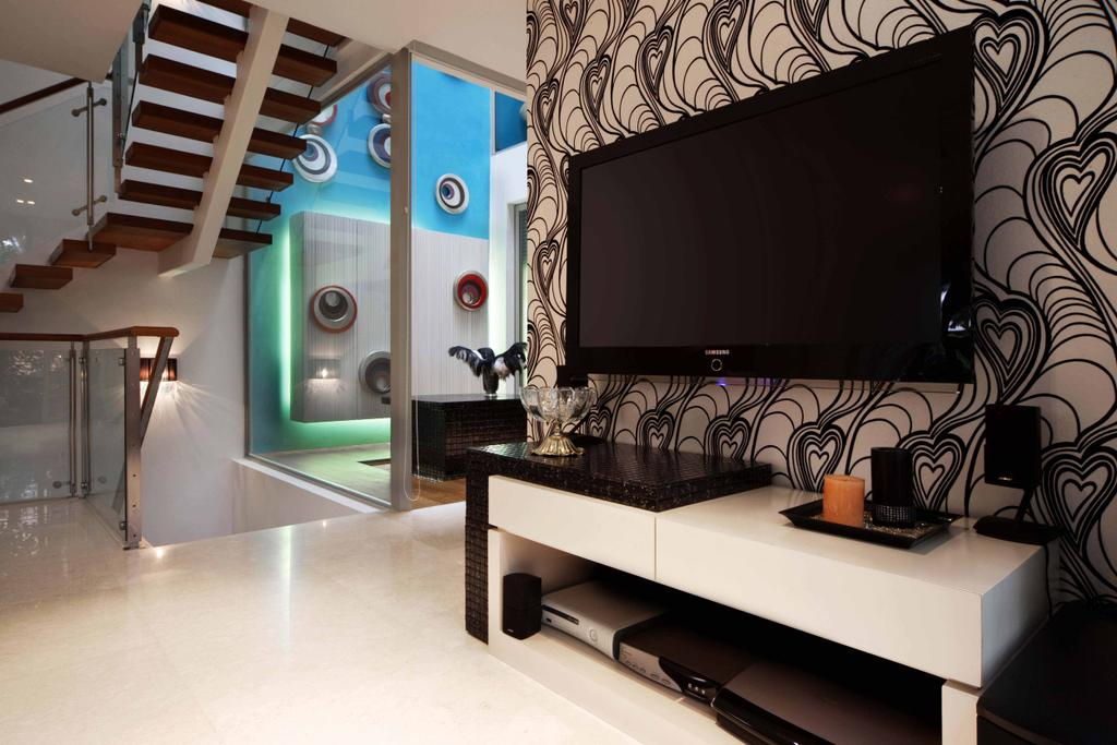 Contemporary, Landed, Living Room, Thomson Road, Interior Designer, Space Concepts Design, Electronics, Lcd Screen, Monitor, Screen, Banister, Handrail, Staircase