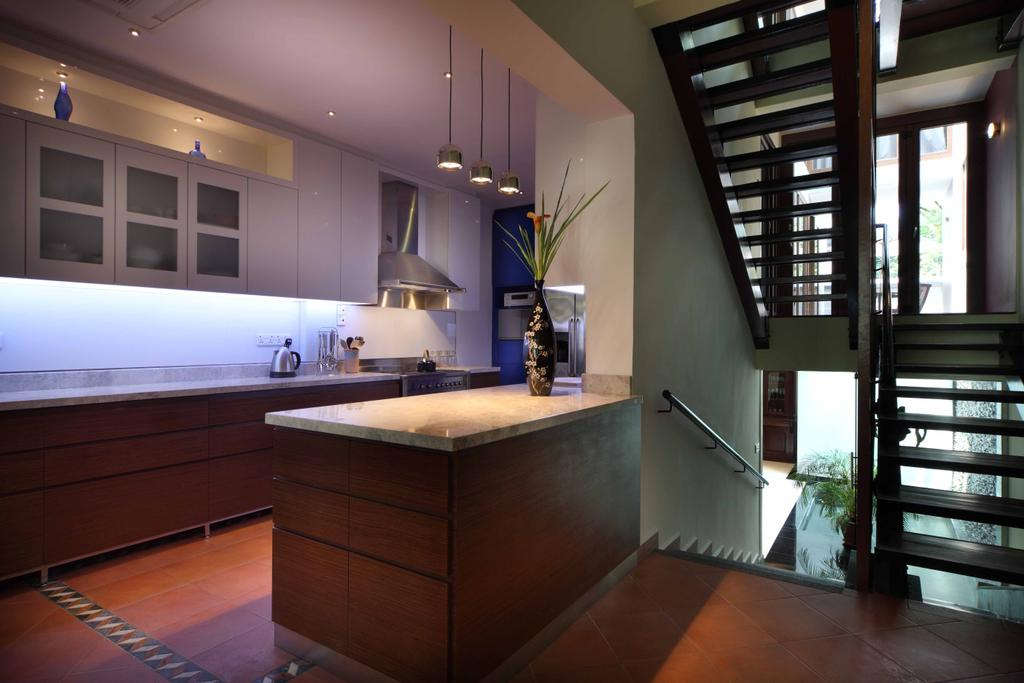 Contemporary, Landed, Kitchen, Everton Shophouse, Interior Designer, Space Concepts Design, Banister, Handrail, Staircase, Indoors, Interior Design, Room
